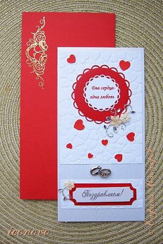 На мой взгляд, очень удачненько всё сложилось. Красный конверт. Купила упаковку разноцветных, теперь под них и открытки делаю. фото 1