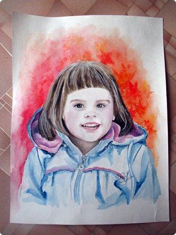 Детский портрет. Акварель. Формат А3. фото 3