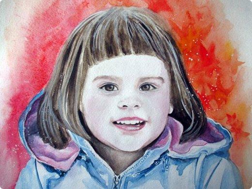 Детский портрет. Акварель. Формат А3. фото 2