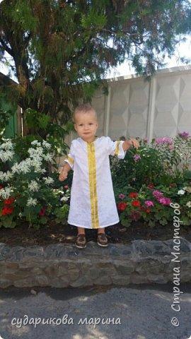 Вот такую крестильную рубаху сшила своему сыночку)