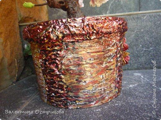 """Приветствую мастеров и мастериц нашей прекрасной СМ! Представляю Вам кашпо, которые сделала для любимого сада. Использовала пластиковые ведерки из-под краски. Окантовка кашпо и низ отделаны ленточками, смоченными в гипсовом растворе. Цветы и листочки выполнены из яичных лотков. Окрашены эмалью """"Перламутровая-гранат"""". Первоначальный фон - черная краска.  фото 13"""