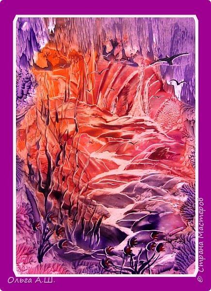 """Еще несколько импровизированных , незамысловатых фантастических пейзажей вашему вниманию. Все работы, формата А4. """"Сказочная пещера"""". фото 2"""