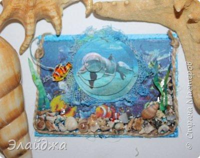 Привет всем моим друзьям и гостям странички. Лето ,жара..... желание поплавать на море, вообщем у меня с утра такое морское  настроение. Увидев картинки с 3D-эффектом, я решила попробовать сделать такую серию карточек.  Спасибо ИРИСКА 2012 и ее доченьке Людочке  они живут  в СМ здесь (http://stranamasterov.ru/user/191152) за то что прислали мне ракушек с побережья Черного моря, а точнее с Одессы. Я решила  их использовать, для актуализации дна морского. фото 4