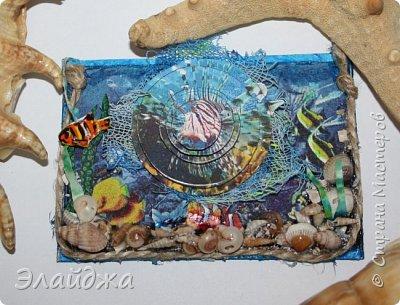 Привет всем моим друзьям и гостям странички. Лето ,жара..... желание поплавать на море, вообщем у меня с утра такое морское  настроение. Увидев картинки с 3D-эффектом, я решила попробовать сделать такую серию карточек.  Спасибо ИРИСКА 2012 и ее доченьке Людочке  они живут  в СМ здесь (http://stranamasterov.ru/user/191152) за то что прислали мне ракушек с побережья Черного моря, а точнее с Одессы. Я решила  их использовать, для актуализации дна морского. фото 5