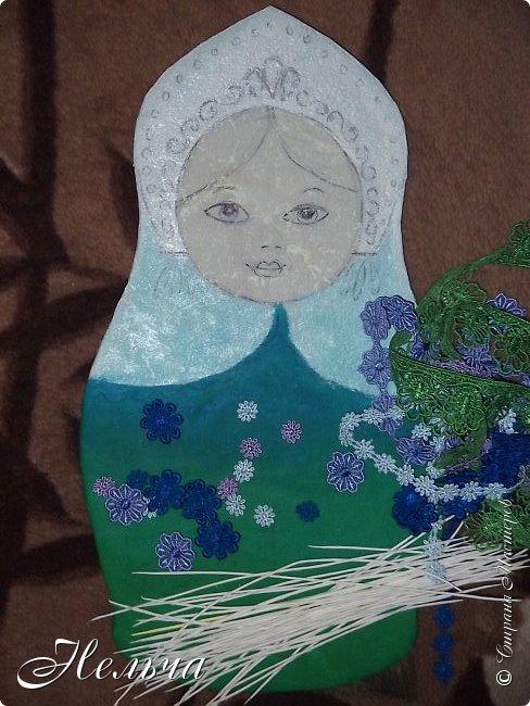 Панно матрёшка Любушка. Высота 37 см. Работа посвящается памяти моей мамы и названа  её именем. Решила сделать русскую красавицу и отобразить в наряде матрёшки всю красоту России: просторы степей и лугов, глубину рек и бескрайнее голубое небо! фото 3