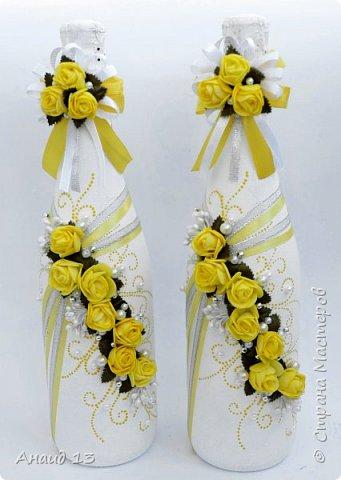 Свадебные бутылочки в желтом цвете? Очень неожиданный заказ... Вот что получилось. фото 1
