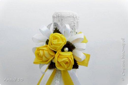 Свадебные бутылочки в желтом цвете? Очень неожиданный заказ... Вот что получилось. фото 3