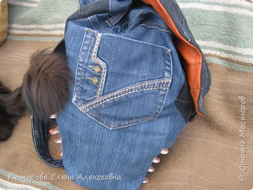 Рюкзак из старых джинс фото 2