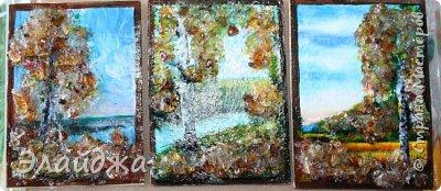 """Привет всем друзьям и гостям моей странички. В рамках совместника  мы готовим карточки и следующая тема   ЕКО..Я продолжаю изучать разные свойства материалов природных и  вот пробная серия  моя """"Осень""""  Многие из Вас видели  картины из янтарной крошки и янтаря. Необыкновенные работы  я увидела у Доброславы (http://stranamasterov.ru/node/1063306). Я решила попробовать себя тоже в этой яркой, солнечной темке. Сегодня сделала вот такие карточки, где листики березы и трава   из янтарной крошки. Все знают что янтарь -это застывшая смола из деревьев, которые росли много много лет назад... . Далее поделюсь техникой - как это все было  сделано. фото 14"""