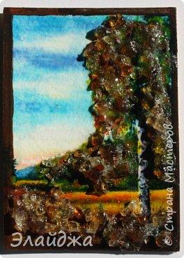 """Привет всем друзьям и гостям моей странички. В рамках совместника  мы готовим карточки и следующая тема   ЕКО..Я продолжаю изучать разные свойства материалов природных и  вот пробная серия  моя """"Осень""""  Многие из Вас видели  картины из янтарной крошки и янтаря. Необыкновенные работы  я увидела у Доброславы (http://stranamasterov.ru/node/1063306). Я решила попробовать себя тоже в этой яркой, солнечной темке. Сегодня сделала вот такие карточки, где листики березы и трава   из янтарной крошки. Все знают что янтарь -это застывшая смола из деревьев, которые росли много много лет назад... . Далее поделюсь техникой - как это все было  сделано. фото 19"""