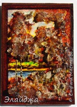 """Привет всем друзьям и гостям моей странички. В рамках совместника  мы готовим карточки и следующая тема   ЕКО..Я продолжаю изучать разные свойства материалов природных и  вот пробная серия  моя """"Осень""""  Многие из Вас видели  картины из янтарной крошки и янтаря. Необыкновенные работы  я увидела у Доброславы (http://stranamasterov.ru/node/1063306). Я решила попробовать себя тоже в этой яркой, солнечной темке. Сегодня сделала вот такие карточки, где листики березы и трава   из янтарной крошки. Все знают что янтарь -это застывшая смола из деревьев, которые росли много много лет назад... . Далее поделюсь техникой - как это все было  сделано. фото 20"""