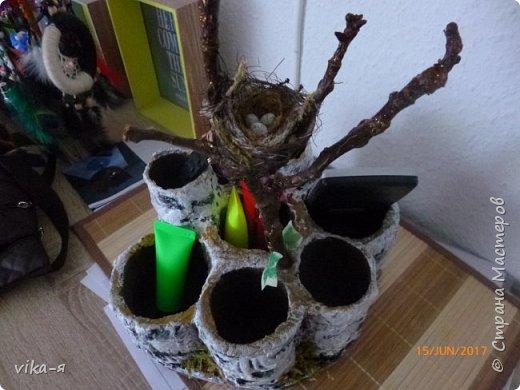 декоративная подставка для карандашей и прочей мелочи.с гнездом фото 3