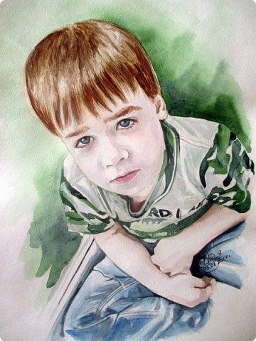 Детский портрет. Акварель. Формат А3.  фото 1