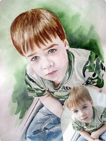 Детский портрет. Акварель. Формат А3.  фото 7