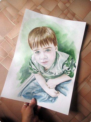 Детский портрет. Акварель. Формат А3.  фото 4