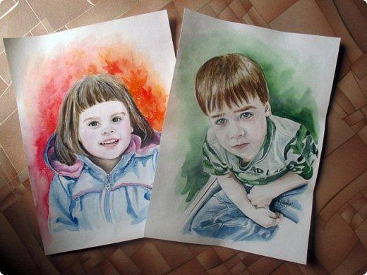 Детский портрет. Акварель. Формат А3.  фото 5