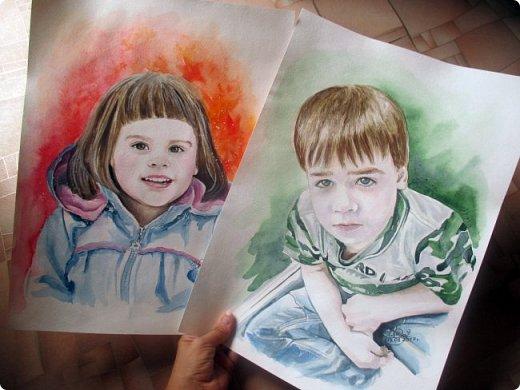 Детский портрет. Акварель. Формат А3.  фото 6