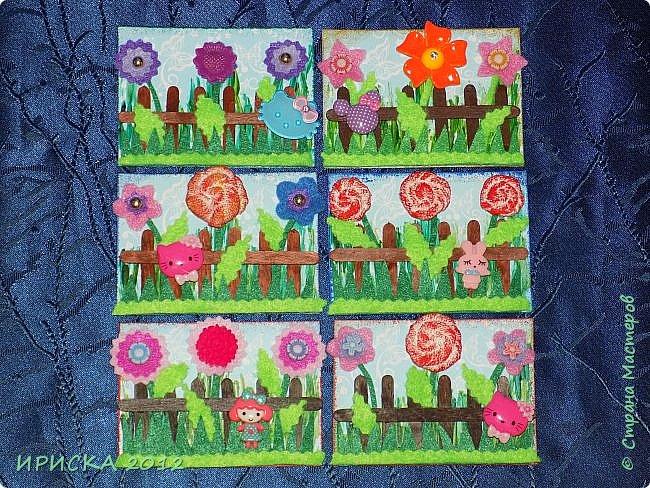 Привет всем гостям моей странички!!! Несколько серий АТС лежат и ждут вдохновения, а эта серия родилась спонтанно. Увидела в магазине открытку с заборчиком и цветами, конечно, там все было из бумаги, а мне захотелось сделать деревянный забор и ярких цветов. Первыми к выбору приглашаю Элайджу и Олечку -  p_olya71, надеюсь что-то понравится :))) фото 2