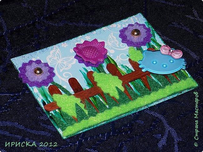 Привет всем гостям моей странички!!! Несколько серий АТС лежат и ждут вдохновения, а эта серия родилась спонтанно. Увидела в магазине открытку с заборчиком и цветами, конечно, там все было из бумаги, а мне захотелось сделать деревянный забор и ярких цветов. Первыми к выбору приглашаю Элайджу и Олечку -  p_olya71, надеюсь что-то понравится :))) фото 4