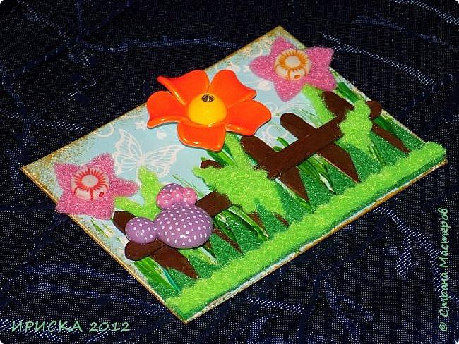 Привет всем гостям моей странички!!! Несколько серий АТС лежат и ждут вдохновения, а эта серия родилась спонтанно. Увидела в магазине открытку с заборчиком и цветами, конечно, там все было из бумаги, а мне захотелось сделать деревянный забор и ярких цветов. Первыми к выбору приглашаю Элайджу и Олечку -  p_olya71, надеюсь что-то понравится :))) фото 10