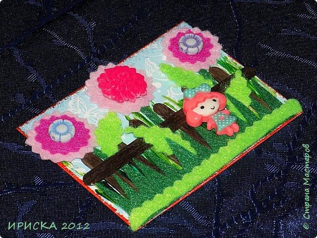 Привет всем гостям моей странички!!! Несколько серий АТС лежат и ждут вдохновения, а эта серия родилась спонтанно. Увидела в магазине открытку с заборчиком и цветами, конечно, там все было из бумаги, а мне захотелось сделать деревянный забор и ярких цветов. Первыми к выбору приглашаю Элайджу и Олечку -  p_olya71, надеюсь что-то понравится :))) фото 12