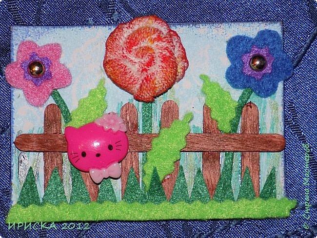 Привет всем гостям моей странички!!! Несколько серий АТС лежат и ждут вдохновения, а эта серия родилась спонтанно. Увидела в магазине открытку с заборчиком и цветами, конечно, там все было из бумаги, а мне захотелось сделать деревянный забор и ярких цветов. Первыми к выбору приглашаю Элайджу и Олечку -  p_olya71, надеюсь что-то понравится :))) фото 13