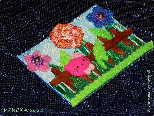 Привет всем гостям моей странички!!! Несколько серий АТС лежат и ждут вдохновения, а эта серия родилась спонтанно. Увидела в магазине открытку с заборчиком и цветами, конечно, там все было из бумаги, а мне захотелось сделать деревянный забор и ярких цветов. Первыми к выбору приглашаю Элайджу и Олечку -  p_olya71, надеюсь что-то понравится :))) фото 14