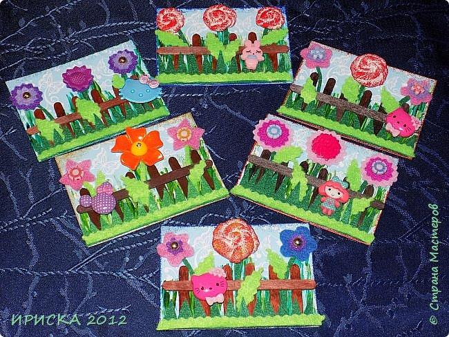 Привет всем гостям моей странички!!! Несколько серий АТС лежат и ждут вдохновения, а эта серия родилась спонтанно. Увидела в магазине открытку с заборчиком и цветами, конечно, там все было из бумаги, а мне захотелось сделать деревянный забор и ярких цветов. Первыми к выбору приглашаю Элайджу и Олечку -  p_olya71, надеюсь что-то понравится :))) фото 1