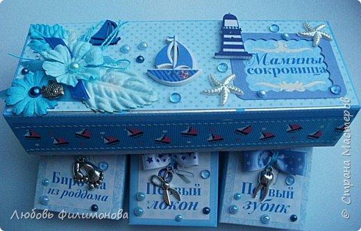 """Всем привет! Сегодня я хочу показать вам вторую коробочку """"Мамины сокровища""""в морском стиле. на этот раз для мальчика. Размер коробочки 16,5 на 6 см. высота 5см. фото 5"""