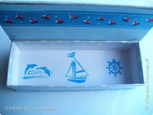 """Всем привет! Сегодня я хочу показать вам вторую коробочку """"Мамины сокровища""""в морском стиле. на этот раз для мальчика. Размер коробочки 16,5 на 6 см. высота 5см. фото 4"""