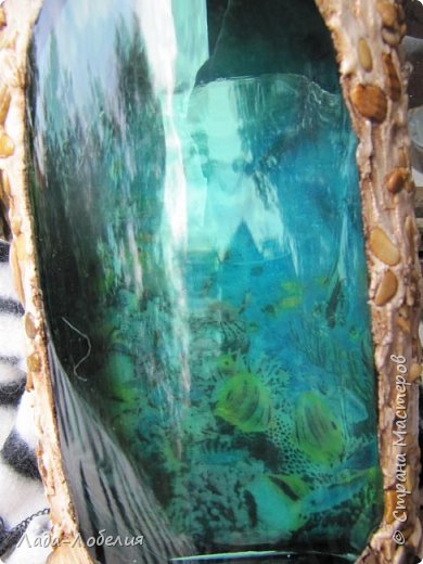 """""""Подводный мир"""" , обратный декупаж, шпатлевка, галька, ракушки. фото 2"""