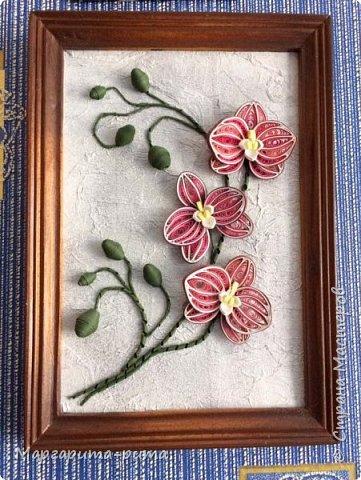 Это мое первое панно.Не судите строго)))) Мама очень любит орхидеи. Захотелось её порадовать. Нашла в Ютьюб МК цветов. Получилось немного не так как у автора. Но всё же!! фото 1