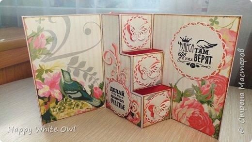 Всем привет!  Сегодня хочу Вам показать открытку с интересной раскладкой.  Схему найдете здесь http://frommycraftroom.blogspot.ru/search/label/3-Step%20Cards. Там все размеры указаны в сантиметрах, что очень облегчает жизнь)) У меня открытка получилась довольно простой, т.к. я подобные открытки оформлять просто не умею. Хотела в правый верхний угол добавить цветы, но у меня не получилось сделать их достаточно красивыми. Поэтому угол остался голым. фото 6