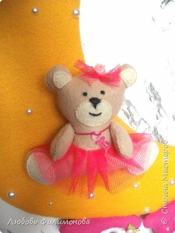 Сделала панно с именем для маленькой девочки. Высота панно 30см, букв 9, медвежонка 8. фото 3