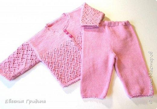 Нежно-розовый костюм для девочки :) Ажурная кофточка и штанички фото 1