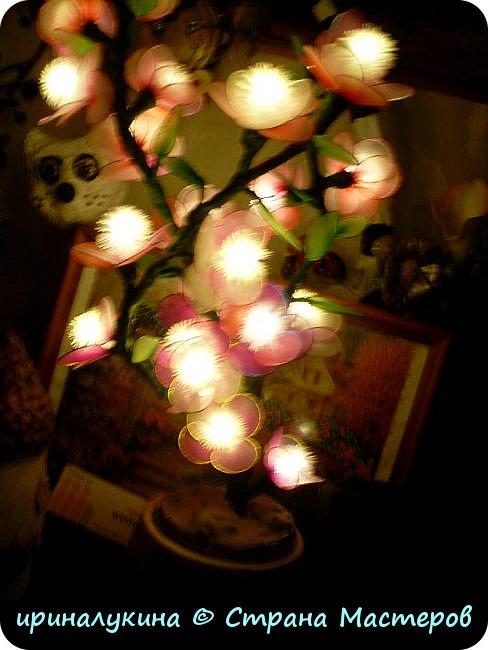 Вот такой светильник у меня получился из  электрической елочной гирлянды, капроновых колготок,проволоки, камешков и гипса. фото 2