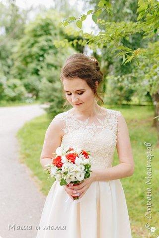 Здравствуйте!!!! Продолжаю свадебную тему. Ещё вариант сердечно-красно-белого. В этом году немало невест, выбравших такие букеты  фото 5