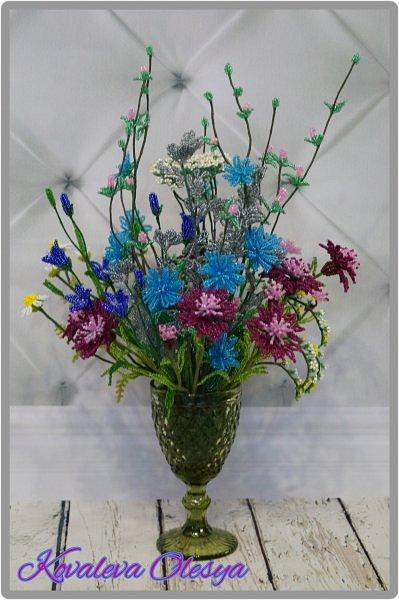 Приветствую всех заглянувших! Хочу вам похвастаться свеже сплетенным букетом полевых цветов. В нём: травяная гвоздика, незабудка, василёк, колокольчик, цикорий, тысячелистник, полынь. ВОТ!)) Трудилась 2 недели... фото 1