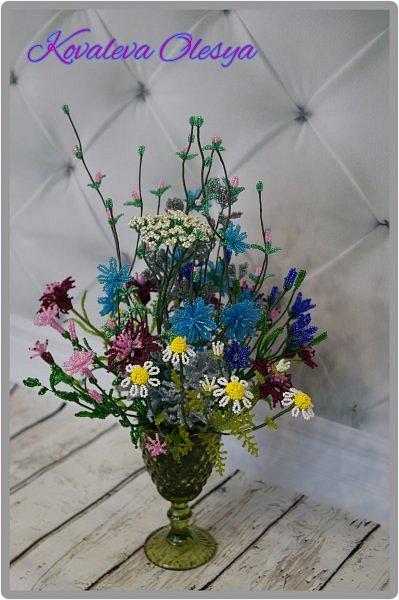Приветствую всех заглянувших! Хочу вам похвастаться свеже сплетенным букетом полевых цветов. В нём: травяная гвоздика, незабудка, василёк, колокольчик, цикорий, тысячелистник, полынь. ВОТ!)) Трудилась 2 недели... фото 2