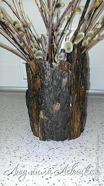 Всем привет! Вот такое кашпо я сделала  для лоджии. Пол-литровую банку оклеила сначала малярным скотчем, а потом на него наклеила при помощи горячего клея кусочки сосновой коры. После покрыла все бесцветным лаком. Получился пенёк. фото 1