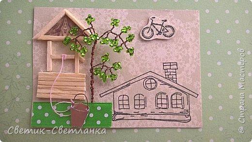 """Привет, Страна! Сегодня я к Вам с новой серией АТСочек """"Колодец у дома"""".  Для создания карточек использовала: бисер и проволоку для бисероплетения - деревья, ручки ведерок так же сделаны из проволоки, штампы для домиков, велосипедиков и машинок, колодец склеен из спичек и покрыт лаком, травка - лента, ведро - фальгированный картон для пищевых продуктов, веревочка к ведру - нитка. Машинки ( велосипедики) и ведра приподняты на вспененный скотч.  Приглашаю к выбору в первую очередь моих кредиторов, затем всех желающих.  фото 4"""