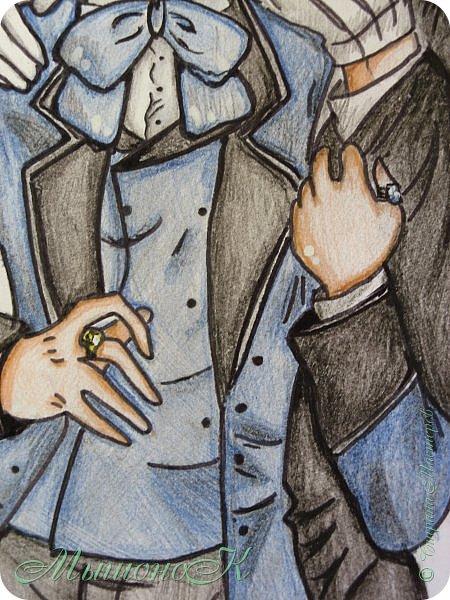 """Приветик ! =3  Мда, что-то давно я ничего не писала...Рисовала, рисовала...Вот и накопилось)  Сегодня хочу показать рисунок, который нарисовала прошлой ночью ( Да, вдохновение ко мне приходит только ночью ).  Это Себастьян и Сиэль , главные герои довольно популярного аниме """"Тёмный дворецкий"""". Аниме посмотрела совсем недавно, и вот нарисовала под впечатлением...  Цветные карандаши, маркер.  Приятного просмотра!))) фото 3"""