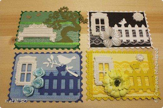 """Доброго всем вечера!! Карточка моя по игре""""Радуга"""" http://stranamasterov.ru/node/1102022 Добралась до адресата,так что можно поделиться этой серией. Использовала фигурки из глины,вырубка,цветочки,кружево.  фото 3"""