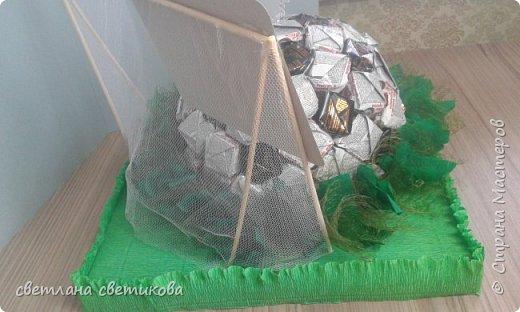 """Первая работа из конфет. Не  расчитала размер, пришлось спрятать мяч в """"траве"""". фото 2"""