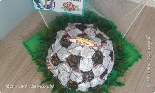 """Первая работа из конфет. Не  расчитала размер, пришлось спрятать мяч в """"траве"""". фото 3"""