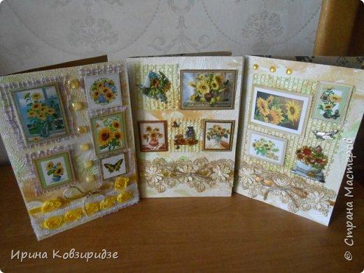 """Три открытки """"Подсолнухи"""" Картинки наклеены на картон и на кусочки вспененного скотча. фото 1"""
