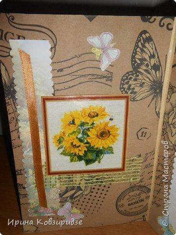 """Три открытки """"Подсолнухи"""" Картинки наклеены на картон и на кусочки вспененного скотча. фото 4"""
