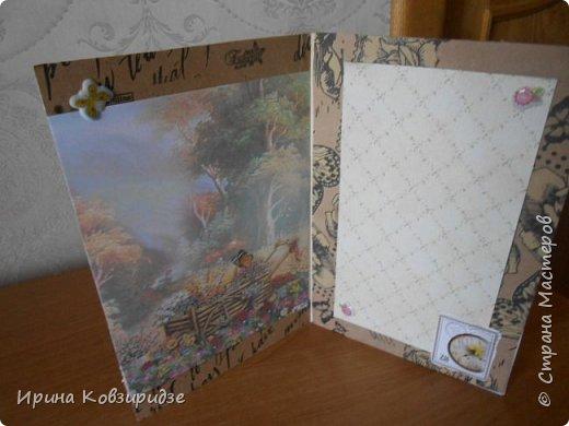 """Три открытки """"Подсолнухи"""" Картинки наклеены на картон и на кусочки вспененного скотча. фото 8"""