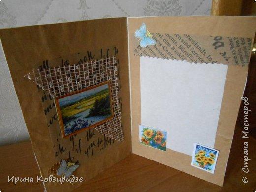 """Три открытки """"Подсолнухи"""" Картинки наклеены на картон и на кусочки вспененного скотча. фото 13"""
