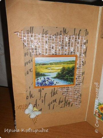 """Три открытки """"Подсолнухи"""" Картинки наклеены на картон и на кусочки вспененного скотча. фото 14"""